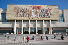 Museum - Tirana, Albania (Maciej Dakowicz) Tags: street city people europe capital albania tirana nationalmuseumofhistory