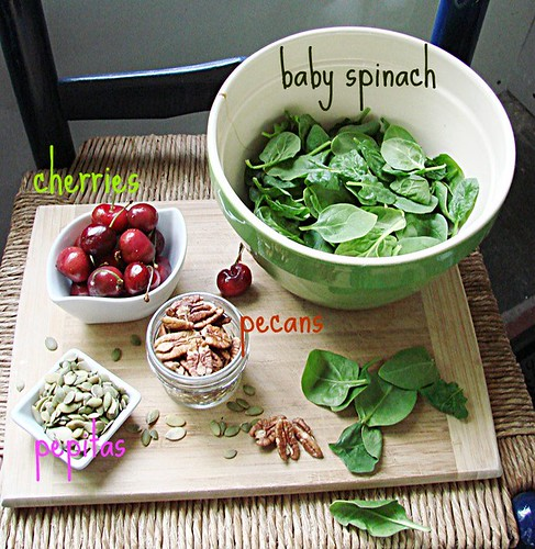 baby spinach + cherry salad // maple balsamic vinaigrette