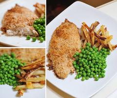Crispy haddock & Homemade fries. (Farah Marzuki) Tags: homemade fries peas haddock fishchips