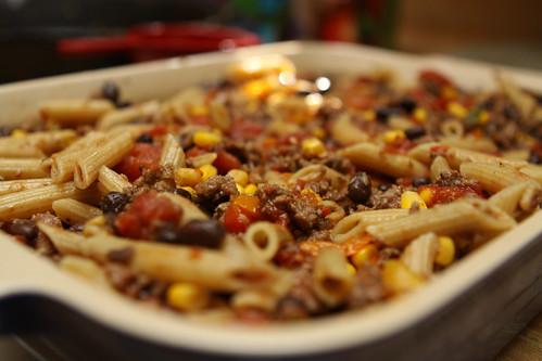 Mexican Pasta before cheese