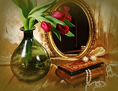 Vanity (floralgal) Tags: stilllife table mirror still tulips top feminine decorative vanity jewelry pearls elegant blueribbon jewelrybox oldworldstyle vaseofflowers stilllifecomposition liferedred decorativetabletopdisplay flowersandpearls flowersandmirror silkandflowers dianaleeangstadtphotography