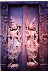Wood carving  / statue depicting serene Burmese Angels on Door of Shwe-In Temple, Mandalay, Myanmar / Burma (Boonlong1) Tags: wood travel art architecture angel temple woodwork asia southeastasia crafts burma religion craft buddhism holy exotic angels sacred myanmar mandalay woodcarving workmanship houseofworship 5photosaday