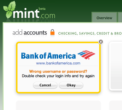 Mint.com screenshot showing: wrong username/password