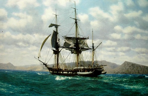 hms beagle off the galapagos by john chancellor