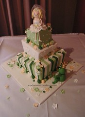 Frog prince & princess wedding cake (Louisa Morris Cakes) Tags: flowers bride chocolate stripes weddingcake australia funky fresh figurines madhatter fondant frogprince louisamorriscakes madhatterweddingcake australiaweddingcake