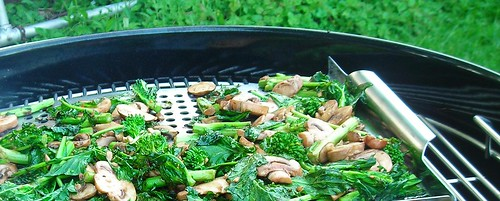 grilled rapini and mushrooms