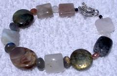 labradorite, sunstone, and other stone bracelet