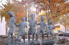 children's statue and fountain at Clarendon's Marketplace Commons (by: John Alex Golden, creative commons license)