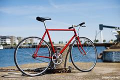 Single-speed built from 1985 Miyata (mrjohan) Tags: red bike bicycle speed vintage one 110 gear retro single ten singlespeed fixed fixie miyata oneten