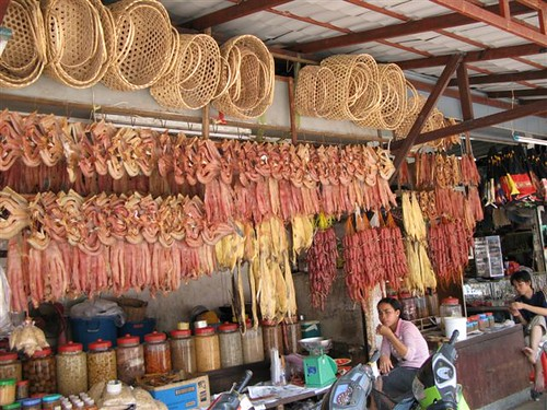 sausages and dried fish at the market