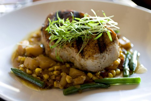 Chipotle & ancho chili dusted grilled pork loin, corn, green bean & potato succotash, red vermouth vinaigrette