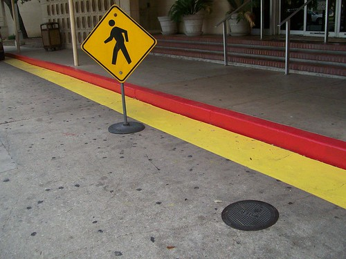 red and yellow crosswalk