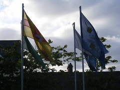 Flags of Irelands 4 Historic Provinces Fly in Crossmaglen South Armagh Ireland (seanfderry-studenna) Tags: ireland irish signs scenery south political politics country border eire hunger violence bandit republican nationalist ira sinn fein monuments gaeilge gaelic troubles cultural memorials armagh cultur strikers crossmaglen hungerstrikers camlough