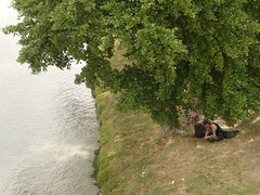 Loneliness (Sweet.tina91  [Momentaneamente fuori servizio :D ]) Tags: man france tree verde green river lumix loneliness fiume panasonic uomo albero avignon francia hume prato avignone solitudine tz5 panasonictz5 sweettina91
