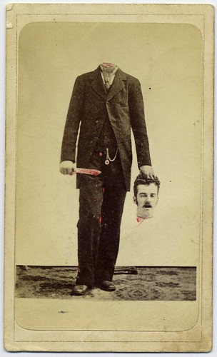 Trick photo, decapitated man with bloody knife, holding his head