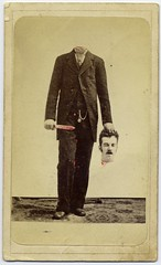 Trick photo, decapitated man with bloody knife...