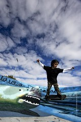 Shark Attack (sallykelso) Tags: kid freestyle wideangle urbanart skatepark graffitti skateboard trick 1022mm gettingair