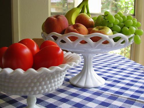 Milk glass comport used as fruit baskets, via Flickr: nbklx17 (Sandy)