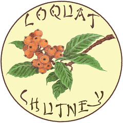 Loquat Chutney Label, copyright Eve Fox 2009