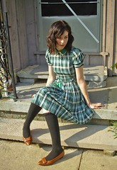 40's day dress (strawberrykoi) Tags: fashion store day dress plaid 40s kneehigh