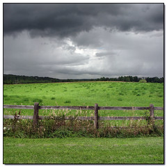 Stormy Weather (Lisa-S) Tags: summer sky panorama ontario canada storm green art field clouds rural canon fence landscape lisas gray georgetown explore hobbyhorse allrightsreserved quiltstore 2390 interestingness167