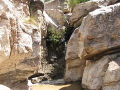Waterfall Oasis between the Boulders