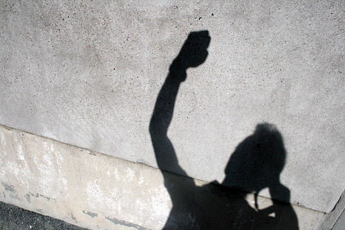 Shadow on the wall of Berlin