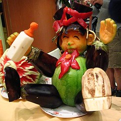 Carved fruit and vegetable child