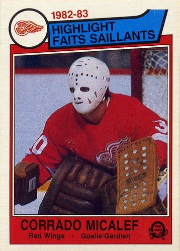 Corrado Micalef, Detroit Red Wings, 83-84 O-Pee-Chee, hockey, hockey cards, goalie mask, weird
