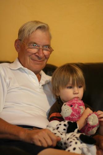 Sam sits with Granpa Allen