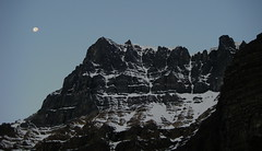 Moon over Temple (mikewarren) Tags: moon climbing lakelouise morainelake valleyofthetenpeaks mttemple