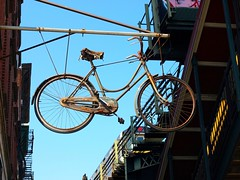 Bike with Elevated Subway Tracks on Broadway in Williamsburg, Brooklyn NYC (jag9889) Tags: county city nyc ny newyork bike sign brooklyn train subway tracks m kings williamsburg mta hanging elevated 2008 bicylce insigna y2008 jag9889