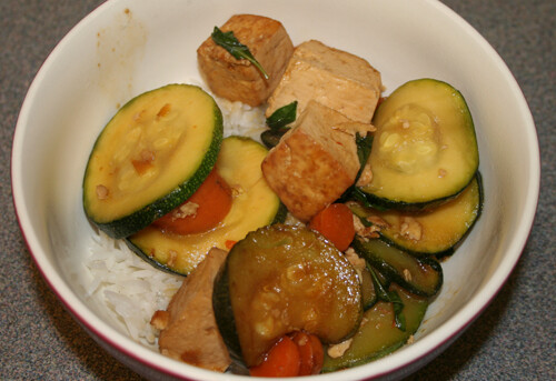 Thai Basil Tofu Stir-Fry with rice