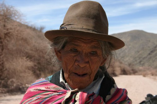Indigena woman north of Vitichy, southern Bolivia.