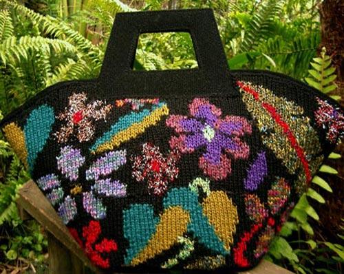 intarsia knit handbag