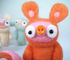 Boodge (Kit Lane) Tags: pink orange wool felted weird felting felt odd needle kawaii boodge needlefelted jacabunny wahzee