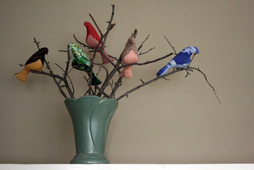 birds in a vase