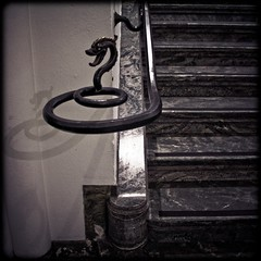 Serpent and shine (gothicburg) Tags: shadow stairs hospital gteborg square spiral dragon reptile interior gothenburg handrail serpent railing lightroom splittoning guessedgbg carlanderska
