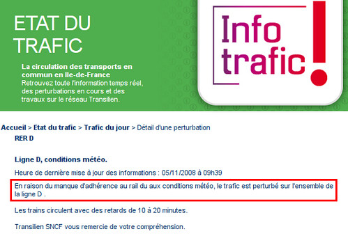 Trafic perturbé sur le RER D