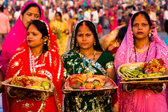 Women celebrating Chhath Festival (Ashish T) Tags: portrait people india colors beautiful festival women colorful asia expression indian traditional group desi mumbai sari facial bihar chhath ashisht ashishtibrewal