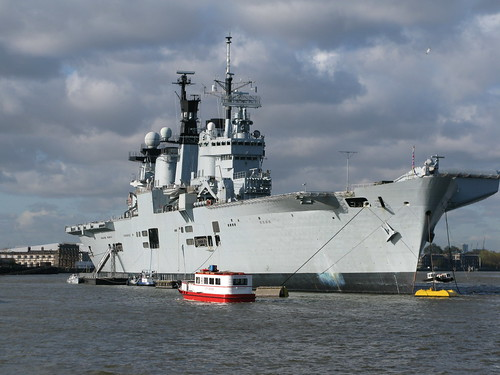 HMS Illustrious on the Thames, from Greenwich