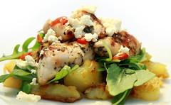 Lemon & Herb Chicken on Fried Potato & Rocket Leaves (LLBoyd) Tags: food chicken potato rocketleaves