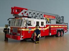 FDNY firetruck (Mad physicist) Tags: newyork fire lego firetruck fireengine figures fdny seagrave legofireengine
