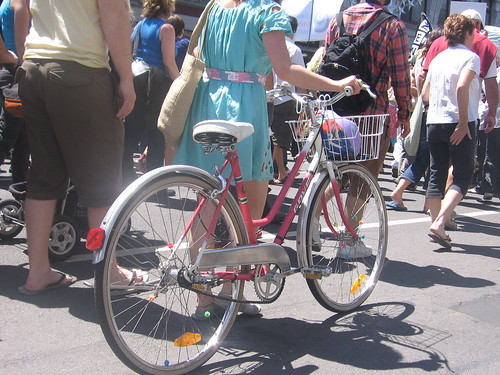 Bicycle power was very popular at the march