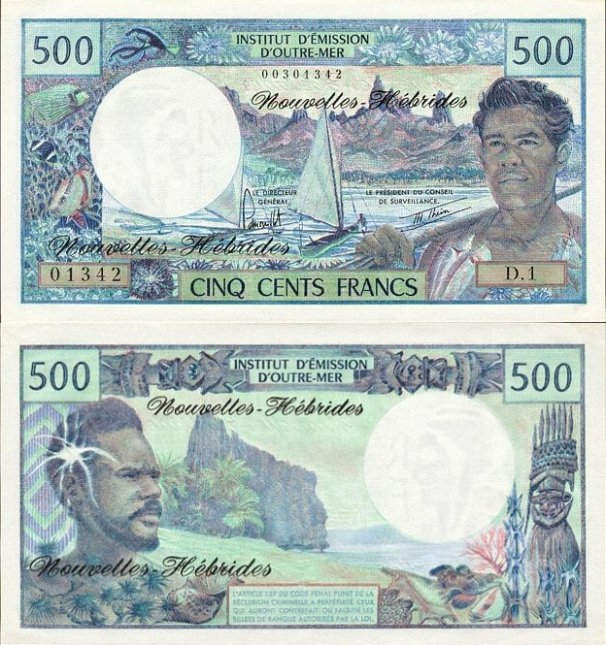 New Hebrides P-19b, 500 Francs (1979)