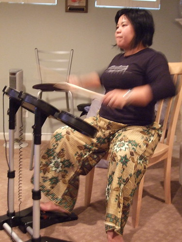 Me drumming in my muumuu pants (by ann-dabney)