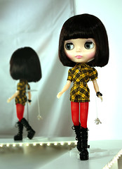 shorts + boots + plaid! (Super*Junk) Tags: dolls sewing impatient amaryllis blythe plaid fashionshow runway radiant darlingdiva
