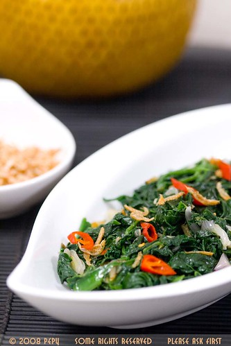 Spinach with Dried Shrimp Paste 1