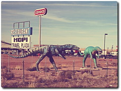 Dinosaurs (Caveman Chuck Coker) Tags: plaza travel arizona digital truck canon eos rebel restaurant route66 dinosaur gimp manipulation 66 route stop interstate 40 navajo holbrook dinosaurs hopi interstate40 xti