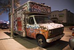 Painted (bhop) Tags: night truck graffiti nikon painted tagged 1750 parked uhaul d200 tamron f28